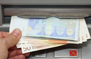 euro cash withdrawal from an ATM of the airport